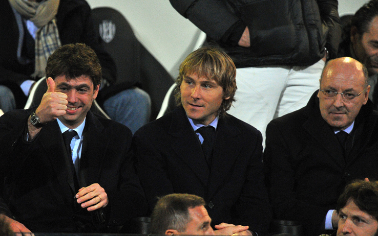 CESENA, ITALY - MARCH 12: President of Juventus Andrea Agnelli, Pavel Nedved and Giuseppe Marotta look on during the Serie A match between AC Cesena and Juventus FC at Dino Manuzzi Stadium on March 12, 2011 in Cesena, Italy.  (Photo by Roberto Serra/Getty Images) *** Local Caption *** Andrea Agnelli;Pavel Nedved;Giuseppe Marotta